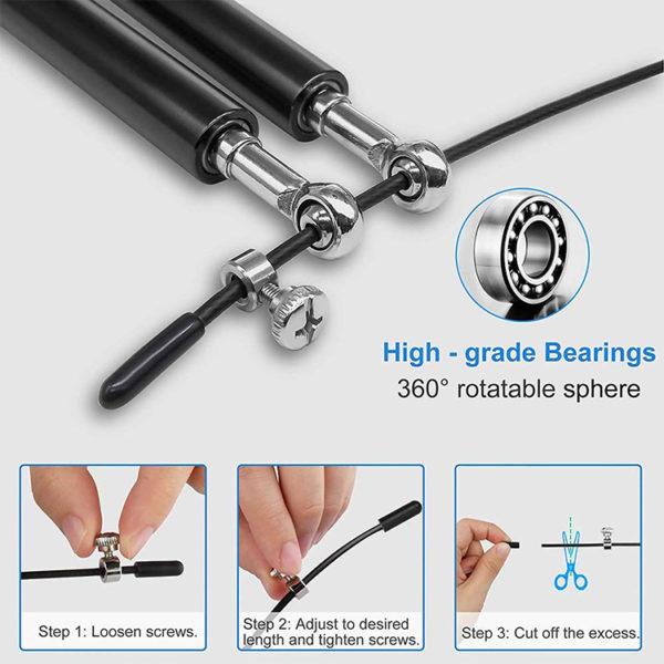 Speed rope springtouw zwart met aluminium handvatten - Uitleg