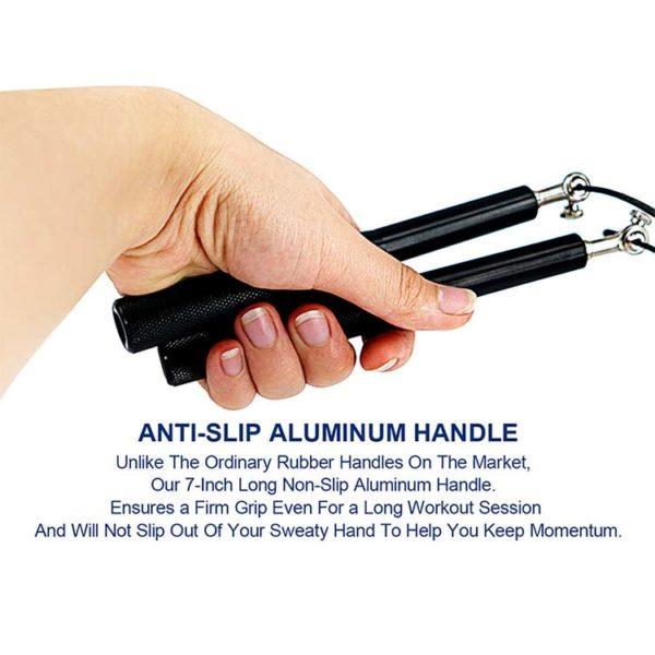 Speed rope springtouw zwart met aluminium handvatten - handvatten specs